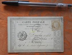 Carte Postale De 1873 De G. Constant Gérant De L'Avenir Coopératif à Evreux - Envoyé à Rouen - Cachet Losange 1454 - Marcophilie (Lettres)