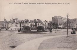 Bv - Cpa LORIENT - Statue Jules Simon Et Place Du Morbihan (Nouvelle Entrée De La Ville) - Lorient