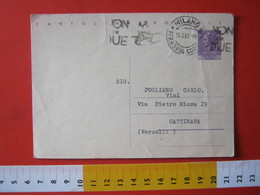 PC.4 ITALIA CARTOLINA POSTALE - 1956 SIRACUSANA £ 25 SCRITTA ALTO DA MILANO 1961 Targhetta NON IN DUE BICICLETTA BIKE - 6. 1946-.. Repubblica