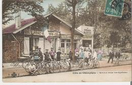 CHAMPIGNY - CYCLISME. CPA  Voyagée En 1910 Côte De Champigny Rendez Vous Des Cyclistes Restaurant Albert Bottiau - Champigny Sur Marne