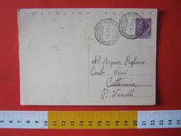 PC.4 ITALIA CARTOLINA POSTALE - 1956 SIRACUSANA £ 25 SCRITTA ALTO DA CAMPORE DI VALLE MOSSO BIELLA VERCELLI - 6. 1946-.. Repubblica