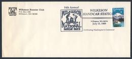 USA 1989 Cover Brief Enveloppe - 14th Annual Wilkeson National Handcar Races / Draisine / Bahndienstfahrzeug - Trains
