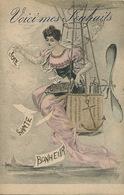 Montgolfière Surrealisme Montage Art Card Belle Femme - Mongolfiere