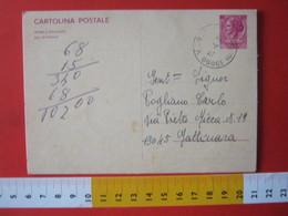 PC.4 ITALIA CARTOLINA POSTALE 1967 SIRACUSANA £ 40 DA VEGLIO MOSSO BIELLA VERCELLI 1972 - 6. 1946-.. Repubblica