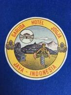 RARE VINTAGE INDONESIA HOTEL ADVERTISING LABEL LUGGAGE GARUDA HOTEL JAVA INDONESIA - Etiketten Van Hotels