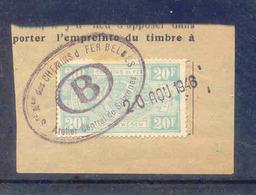 F776A -België  Spoorweg Chemin De Fer  Met Stempel ATELIER CENTRAL DE SALZINNES Op Fragment 20 Aou 1946 - Chemins De Fer