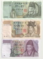 Corée 3 Billets 1000+5000+10000 Won   Superbes - Corée Du Sud
