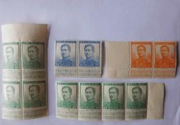12 Timbres Neufs Belgique 1912 / Albert 1er / 2x25c - 8x40c - 2x1fr - 1912 Pellens