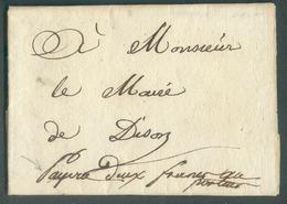 LAC D'AUBEL Le 22 Septembre 1815 (période Du Gouvernement Général) Vers Dison + Manuscrit 'PAYERA DEUX FRANCS AU PORTEUR - 1814-1815 (General Gov. Belgium)