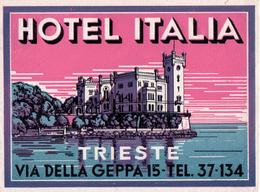 Trieste - Italia Italy Italie - Hotel Italia - Luggage Label Etiquette Valise - Hotel Labels