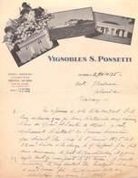 ALGERIE VIGNOBLES S.PONSETTI  Isserville Les Issers Alger Vins D'Algérie Lettre De 1935  à Blouveau Bordeaux *PRIX FIXE - Other