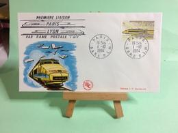 Création Du TGV Avec Rame Postal - Paris 69 Lyon - 1.10.1984 - FDC 1er Jour Coté ..€ - FDC