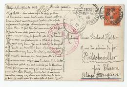 Marcophilie Cachet  Controle Postal Belfort Ministère De La Guerre Pour Bitschviller Près Thann Alsace Française 1915 - Postmark Collection (Covers)