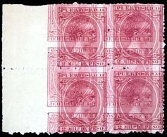 PUERTO RICO. PRUEBA. Borde De Hoja. Impresión Doble, Invertida Y Desplazada. 2m. Rosa.  Mint No Gum. Precioso. E-73-Px4. - Puerto Rico