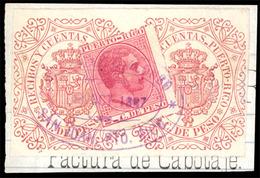 """PUERTO RICO. Sello Sobre Fragmento Con Polizas De Recobos Y Ctas 5c Castaño-rojo. Marca Oval Comercial De """"Gonzalez Y Al - Puerto Rico"""