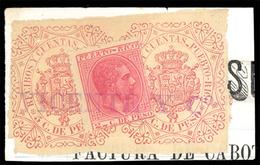 """PUERTO RICO. Sello Sobre Fragmento Con Póliza De Recibos Y Ctas, 5c En Castaño-rojo. Marca Comercial Lineal """"Vicente & C - Puerto Rico"""