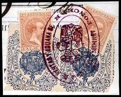 """PUERTO RICO. Sellos Sobre Fragmento Con Pólizas 5c Azul De Recibos Y Ctas. Marca Oval Administrativa De """"PONCE"""" (P.R.). - Puerto Rico"""