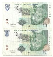 South African Resere Bank 2 Billets 10 Rand Rhinoceros - Sudafrica