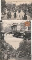 6 CPA:PARIS (75) ANCIENNES VOITURES,ATTELAGES BOIS DE BOULOGNE,PRÉSIDENT WOODROW WILSON ,THÉÂTRE SARAH BERNHART,....... - France