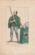 """Gravure XIV ème Siècle - N° 59 -  Du Guesclin, Connétable De France  """"Le Costumes Français Depuis Clovis"""" 1834 - Estampes & Gravures"""