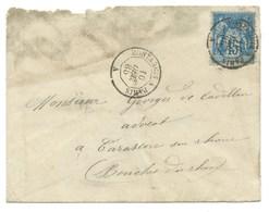 15c SAGE SUR ENVELOPPE / AMBULANT MONTARGIS A PARIS POUR TARASCON / 1885 - Marcophilie (Lettres)