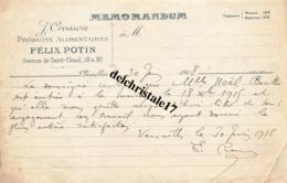 78 VERSAILLES SEINE 1918 MÉMORANDUM J. CROSSON PRODUITS ALIMENTAIRES FÉLIX POTIN AVENUE DE ST CLOUD À MLLE BERTHE NOËL - 1900 – 1949