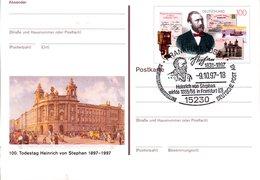 """BRD Amtl.GZS-Sonderpostk. PSo 49 """"100.Todestag Heinrich Von Stephan"""" WSt """"H. Von Stephan"""", ESSt 9.10.1997 FRANKFURT ODER - Postales - Usados"""