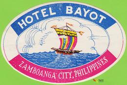 Voyo HOTEL BAYOT Zamboanga Philippines Hotel Label 1970s Vintage - Hotel Labels
