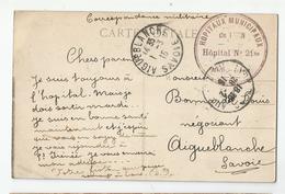 Marcophilie Cachet Hopitaux Municipaux Hopital N 21 Bis Lyon Pour Aigueblanche 73 Savoie 1915 - Postmark Collection (Covers)