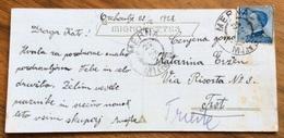 MERNA / MIREN 22/12/22  D.c. Austriaco SU MICHETTI 25 C.  Su CARTOLINA PER TRIESTE - Venezia Giulia