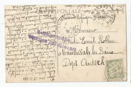 Marcophilie Cachet Ouverte Par Autorité Administrative 1915lyon Pour Vals Les Bains 07 Ardèche Timbre Taxe 20c - Poststempel (Briefe)