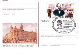 """BRD Amtl. GZS-Sonderpostkarte PSo 49 """"100.Todestag Heinrich Von Stephan"""" WSt """"H. Von Stephan"""", ESSt 9.10.1997 KÖLN 1 - [7] Federal Republic"""
