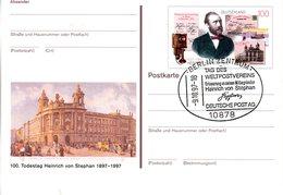 """BRD Amtl. GZS-Sonderpostkarte PSo 49 """"100.Todestag Heinrich Von Stephan"""" WSt """"H. Von Stephan"""", ESSt 9.10.1997 BERLIN - Postales - Usados"""