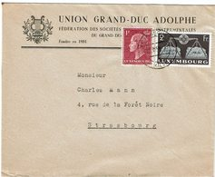 LCTN59/ALS 2 BB - LUXEMBOURG LETTRE LUXEMBOURG / STRASBOURG 22/??/1952 THEME MUSIQUE - Lussemburgo