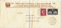 LCTN59/ALS 2 BB - LUXEMBOURG LETTRE ETTELBRUCK / STRASBOURG 19/2/1952 THEME MUSIQUE - Lussemburgo