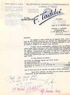 ALGERIE F.TADDEÏ Alger Déménagements  Transports Transport Lettre De 1952  à Maison Brancher De Vichy   *PRIX FIXE - Other