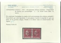 OCCUPAZIONE ITALIANA CEFALONIA E ITACA KEFALONIA ITHACA 1941 KING GEORGE II RE GIORGIO ARGOSTOLI 3 + 3 D MNH CERTIFICATO - 9. Occupazione 2a Guerra (Italia)