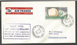 France - Aérophilatélie - Vols De Nuit Maurice Nogues Strasbourg-Paris - 1360 (Pleumeur-Bodou) - Marcofilie (Brieven)