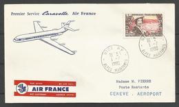 France - Aérophilatélie - 1er Service Caravelle Air France Nice-Genève 01/07/1960 - 1247 (rattachement De Nice) - Posta Aerea