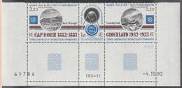 TAAF  Poste Aérienne 1982 N°  77A MNH  Année Polaire Groenland Cap Horn Coin Daté  (F) - Unused Stamps