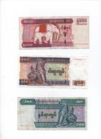 MYANMAR - Lot De 3 Billets ( 200 - 500 - 5000 Kyats  )  Bon état  Circulés - Myanmar