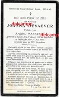 Doodsprentje Jjoanna Desaever Zande 1836 En Overleden Te Leffinge 1921 Maertens Amand - Santini