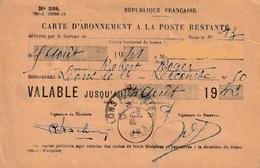 Carte PTT D'abonnement à La Poste Restante.de Lons-le-Saunier. Valable Jusqu'au 24 Août 1942. 2 Timbres Postal,et Fiscal - Postal Services