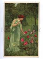 187967 NYMPH W/ Roses Garden By SCHUSTER Vintage PC - Illustrators & Photographers