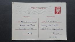 Entier Postal 1,20 F Petain 1942 De Monaco Oblitéré Nice Pour Dijon - Entiers Postaux