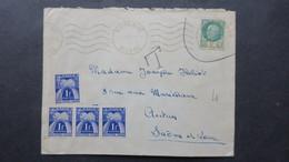 Lettre Nevers Juin 1945 Affranchi Pétain Taxe A 4 Fr  ( Timbre Démonétisé ) - Marcophilie (Lettres)