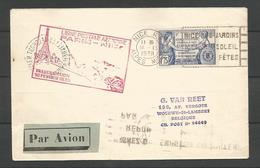 France - Aérophilatélie - Lettre Du 16/12/38 - Cachet Inauguration 16/02/1938 Ligne Paris-Nice - Marcophilie (Lettres)