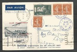 France - Aérophilatélie - Carte Du 25/07/37 - La Baule-Pornichet-Le Pouligen - Vignette Meeting Escoublac - Marcophilie (Lettres)