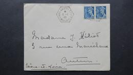 Lettre Janvier 1940 Obl Laval Annexe CPN° 7 Affranchie Mercure Pour Autun - Marcophilie (Lettres)