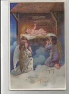 Deux Anges En Adoration Devant L'Enfant Jésus Dans La Crèche. Glacée Et Dorée. - Christmas